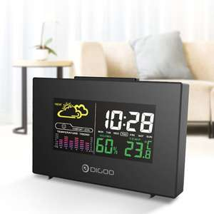DIGOO DG-C3 Wireless USB Hygrometer Thermometer Alarm Clock, Weather Forecast Station with Color Backlit, LCD Screen, Temperature&Humidity Display Delivered @ Banggood