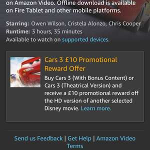 Buys Cars 3 On Amazon Video Get £10.00 promotion off another selected Disney Movie