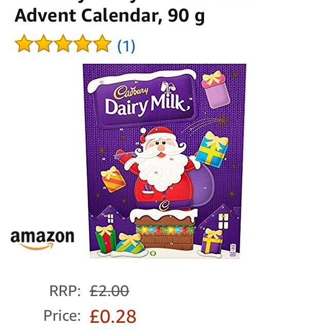 Cadbury Advent Calendar 28p on Amazon Prime Now