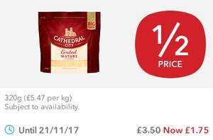 Cathedral City Mature Grated Cheese 320g for £1.75 In store at Co-op