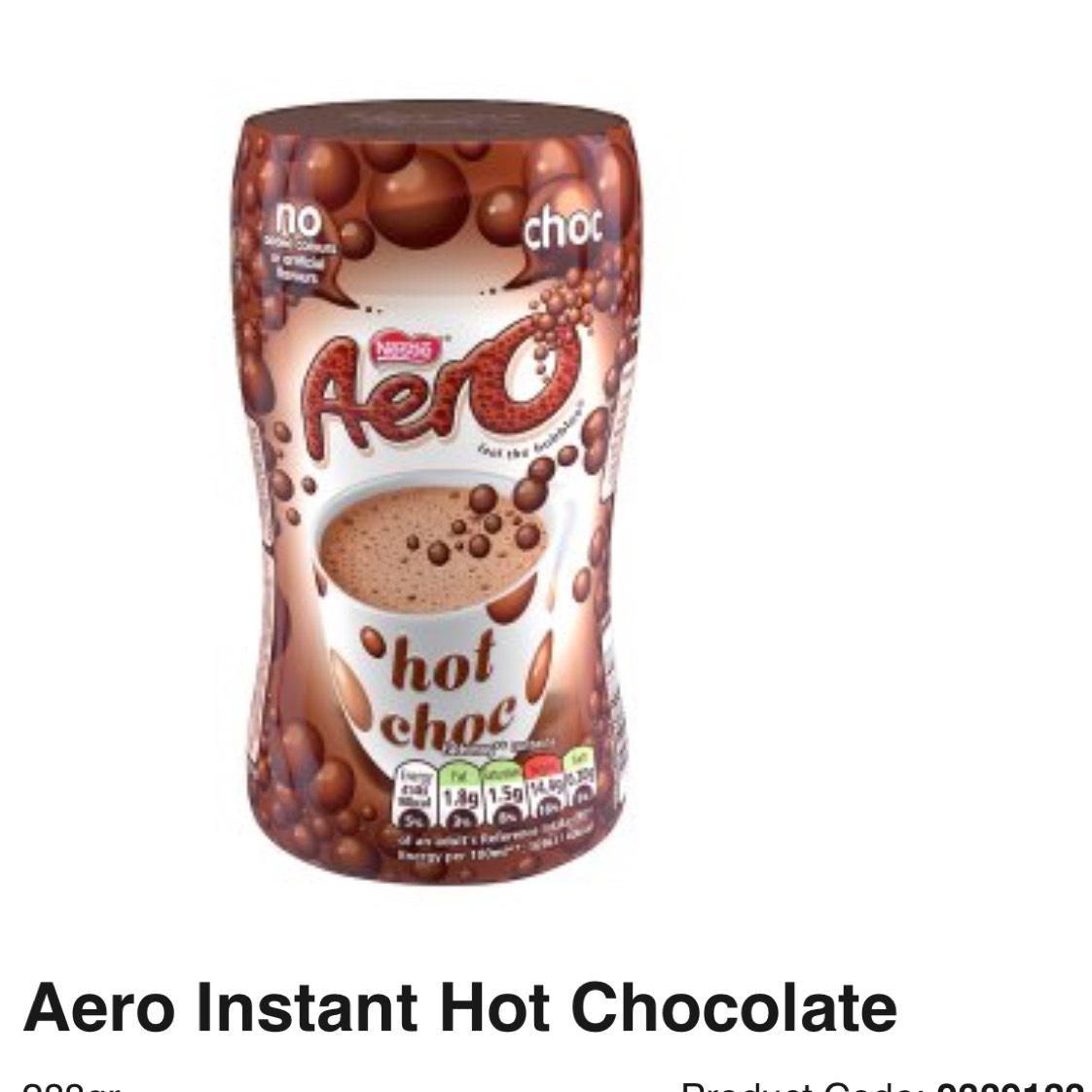 Nestle Aero Instant Hot Choc 288g was £2.69 now £1.50 @ Asda