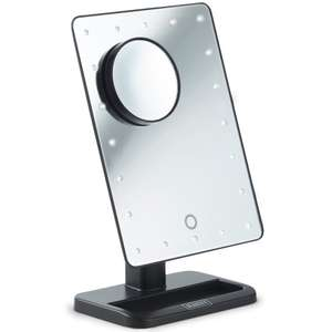 Rotatable LED light up mirror with attachable magnifying mirror - Battery powered £10.99 delivered @ DOMU