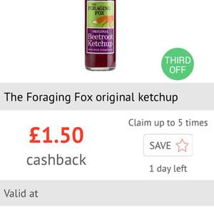 £1.50 cashback on Foraging Fox Ketchup via Checkoutsmart