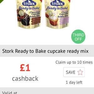 £1 cashback on Stork Ready to Bake Cupcake Ready Mix via Checkoutsmart