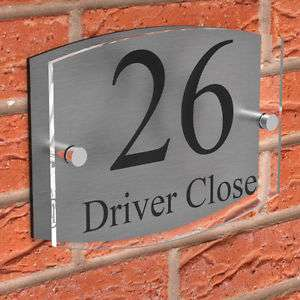 Clear Acrylic with Brushed Aluminium - Door Number & Road Name Plaque *Free Delivery* Manufactured and dispatched in the UK by displaypro_uk - £6.75