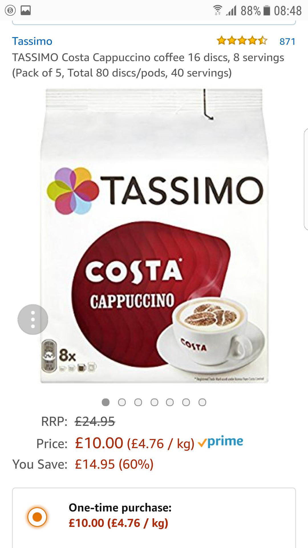 Costa cappuccino tassimo £10 (Prime) / £14.75 (non Prime) at Amazon