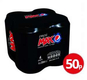 4 PACK 330ML PEPSI MAX 50p (Nationwide @ Poundstretcher)