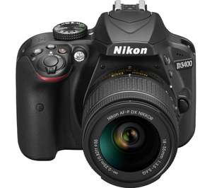 NIKON D3400 DSLR Camera with 18-55 mm f/3.5-5.6 Zoom Lens - Black £354 with code @ Currys