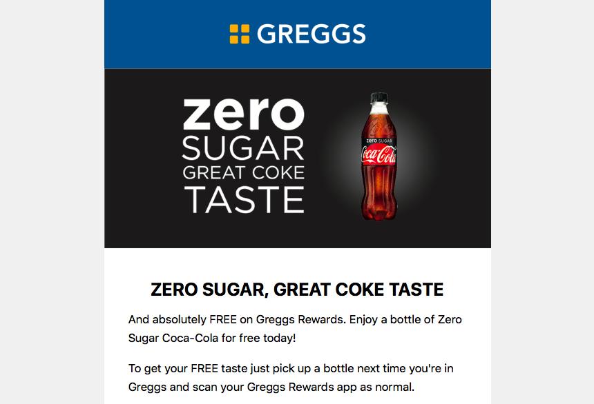Free Coke Zero with Greggs