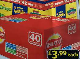 Walkers Crisps Box 40 bags x 25g 4 different flavours £3.99 @ Farmfoods