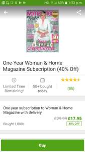 Cheap women & home magazine yearly subscription £17.95 via Groupon