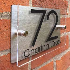 Clear Acrylic House Sign Modern Brushed Aluminium Door Number Name Road Plaque £5.99 abodesignsuk / Ebay