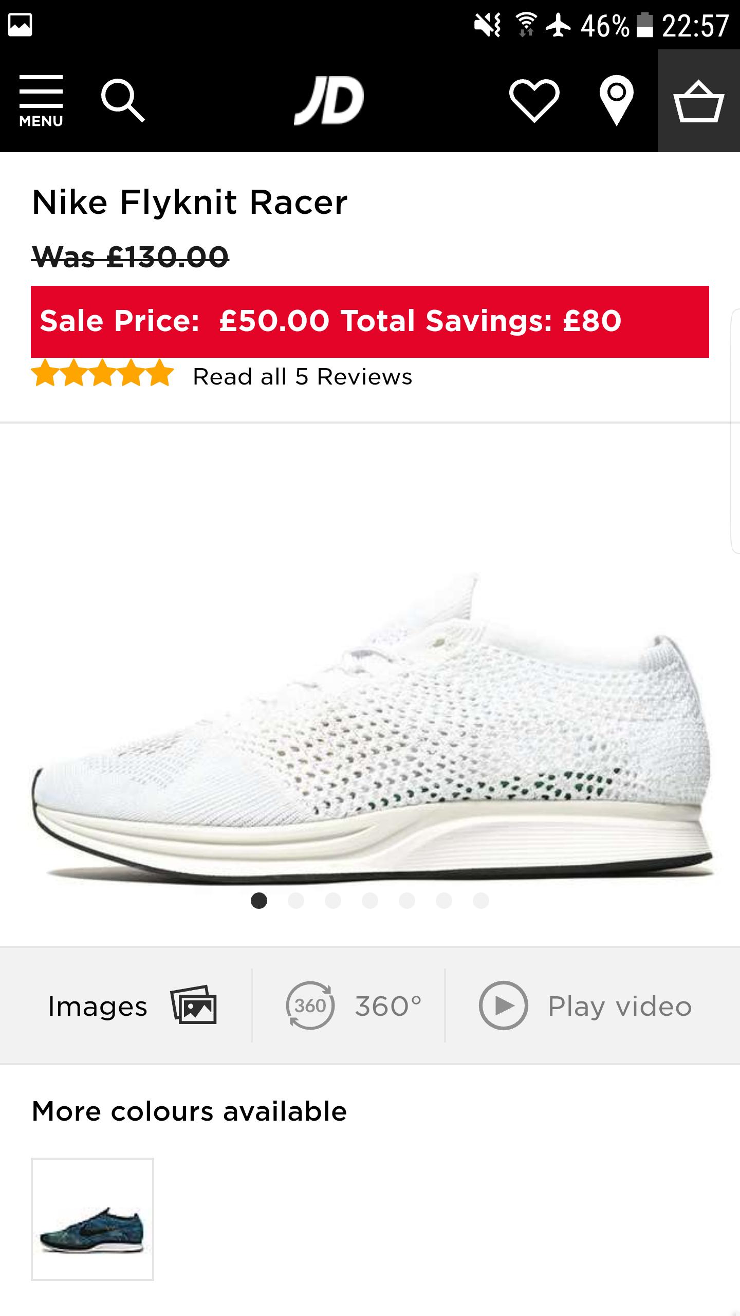 Nike Flyknit Racer Trainers £50 @ JD Sport
