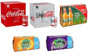 Mix and match any 2 of the following Soft Drinks for £9 -18 coke - 18 Diet coke - 10 J2O - 24 fruit shoot @ Farmfoods