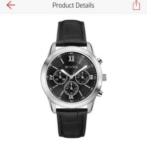 Bulova Men's Black Dial Chronograph Leather Strap Watch £39.99 Argos