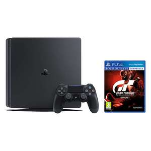 Sony PlayStation 4 Slim Console, 1TB, with DUALSHOCK 4 Controller, Jet Black and Gran Turismo Sport £259.99 John Lewis