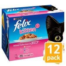 Felix Kitten Up To 1 Year Selection In Jelly 12X100 2 for £6.00 at Tesco