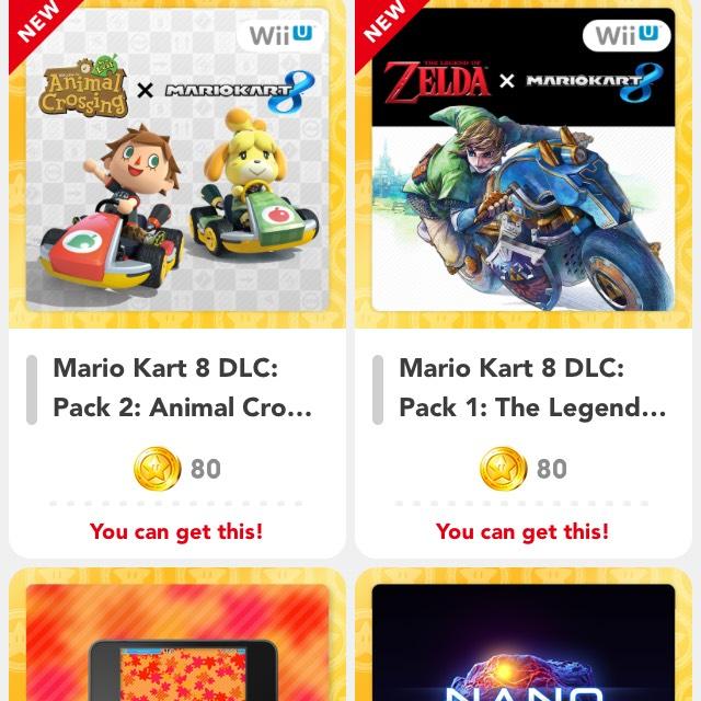 Mario kart 8 dlc packs 80gold coins each my Nintendo rewards