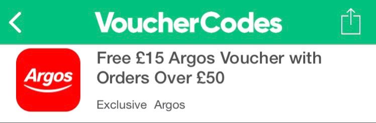 Free £15 Argos Voucher with Orders Over £50 at Argos via vouchercodes