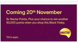 NOW LIVE  8 x Nectar points from 20th - 27th November on purchases £10 and over  @ eBay