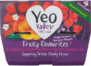Yeo Valley 4 organic fruity favourites yogurts (4 x 120g) was £1.95 now £1.46 @ Waitrose