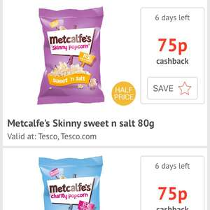 Metcalf's popcorns all varieties £1 in Tesco and claim 75p from CheckoutSmrt