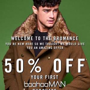 50% off your first order boohoo man