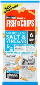 Burton's Daily Fish 'n' Chips Lashings of Salt & Vinegar Flavour Baked Snack Biscuits 6 x 25g (150g) was £1.00 now 2 packs of 6 for £1.50 @ Iceland