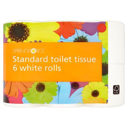 Tesco Springforce Toilet Tissue White 6 Pack = £1 (16p a roll)