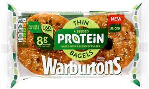 Warburtons Seeded Protein Thin Bagels (4 Pack) was £1.40 now 79p (so 20p each) (Rollback Deal) @ Asda