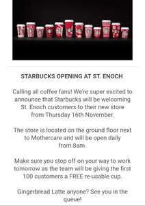 Free re-usable cup for first 100 ppl when buying a coffee @ Starbucks - St. Enoch