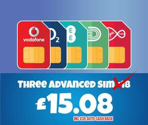 30GB Data - Unlimited Minutes & Texts - 12 Months Advanced Sim £15.08 - £180.96 @ Three via Buymobiles.net with £35 Auto Cashback £15.08 Month