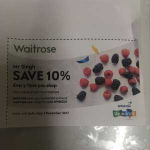 10% off £100 spend at Waitrose online
