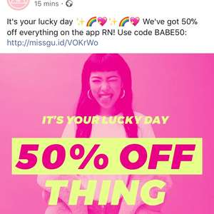 50% off everything on Missguided app with code