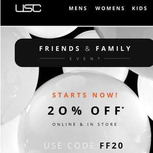 20% off at USC with code FF20 (mens ladies clothing shoes fashion cosmetics)