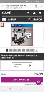 Homefront Goliath Edition PlayStation 4 - £14.99 At Game