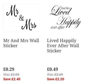 Mr & Mrs Wall Sticker 80x60cm - Now only 29p from The Range  - Was £2.69!