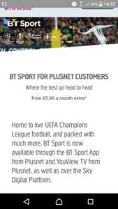 HD Bt sport for plusnet customers £2.50 for the first 6 months then £5