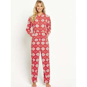 Sorbet Christmas Fairisle Onesie - Red or Blue - Size 18 only - £9.94 delivered @ Bargain Crazy