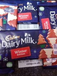 Cadbury dairy milk winter edition 100gm 50p @ coop