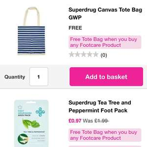 Free tote bag with any foot care products (many half price) - from 97p @ Superdrug