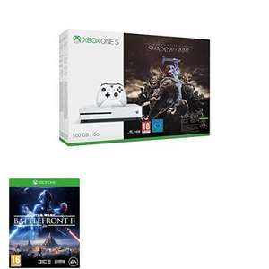 Xbox One S 500GB Console: Shadow of War Bundle or Assassins Creed Origins or Minecraft + Star Wars Battlefront 2 or FIFA  £199.99 Amazon