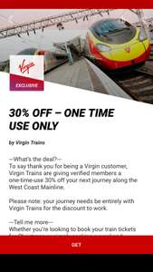 30% off for journey along the Virgin West Coast Mainline via Virgin Red app.