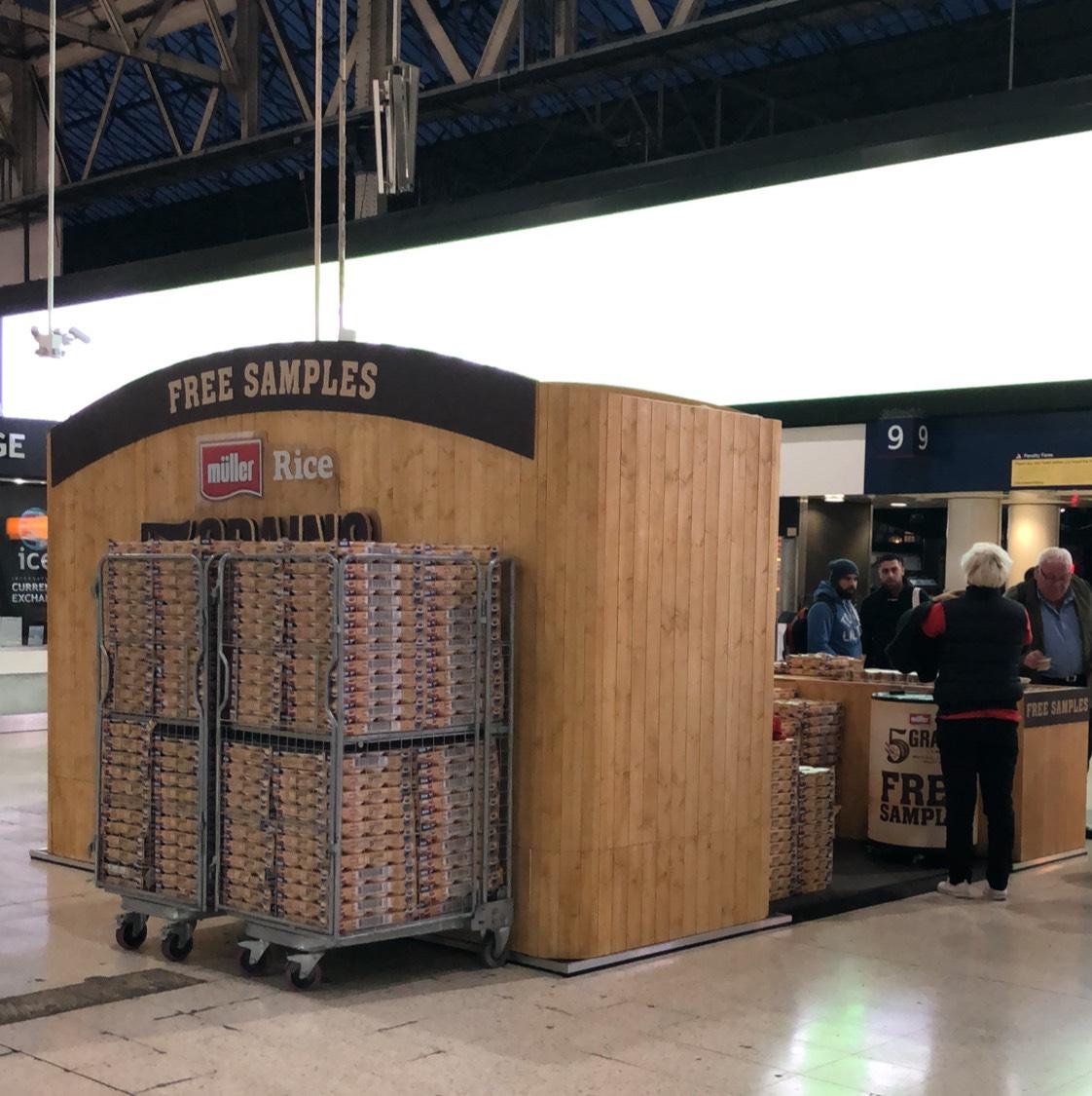 Free samples of Muller rice at Waterloo station