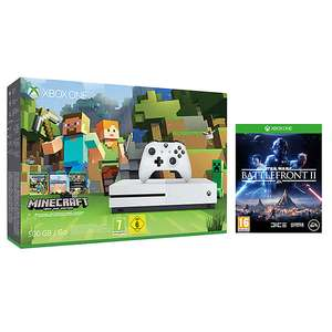 Microsoft Xbox One S Console, 500GB, with Minecraft and Star Wars Battlefront 2 at John Lewis for £199.99