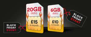 20GB 4G Data / 5000 Mins / Unltd Text  sim only 12 month £15pm - 6GB also £10/month  @  Virgin Media