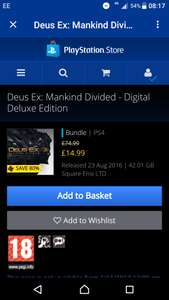 Deluxe version Dues ex ps4 PSN for £14.99