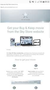 Free DVD movie from sky sent free plus added to sky box