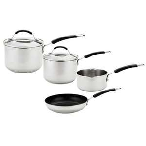 4 pce meyer stainless steel saucepan set induction suitable @debenhams
