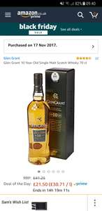 Glengrant 10 Year Single Malt Whiskey Half Price  @ Amazon